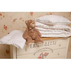 """Подушка для грудничка, декор кружевом с бамбуком в хлопковом чехле """"Бамбуковый медвежонок"""" 40х60"""